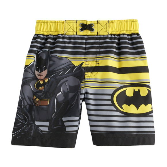 NWT DC Comics Batman Toddler Boys Black//Yellow UPF 50 Swim Trunks 2T or 3T